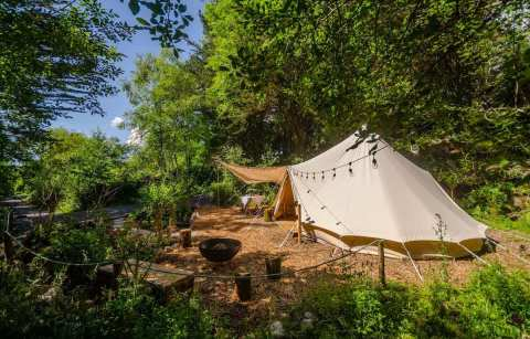 large-white-botanical-bell-tent-in-woodland-glamping-cork