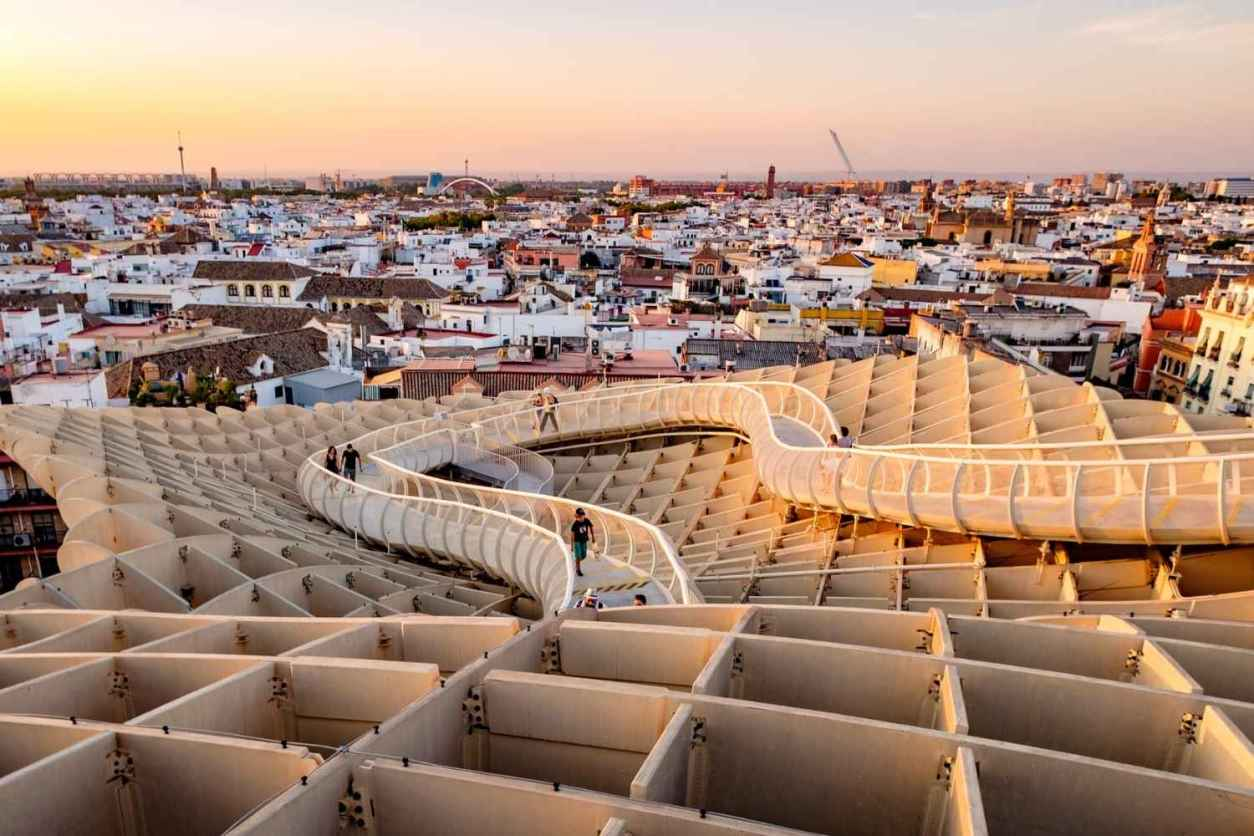 people-walking-around-setas-de-sevilla-at-sunset-4-days-in-seville-itinerary