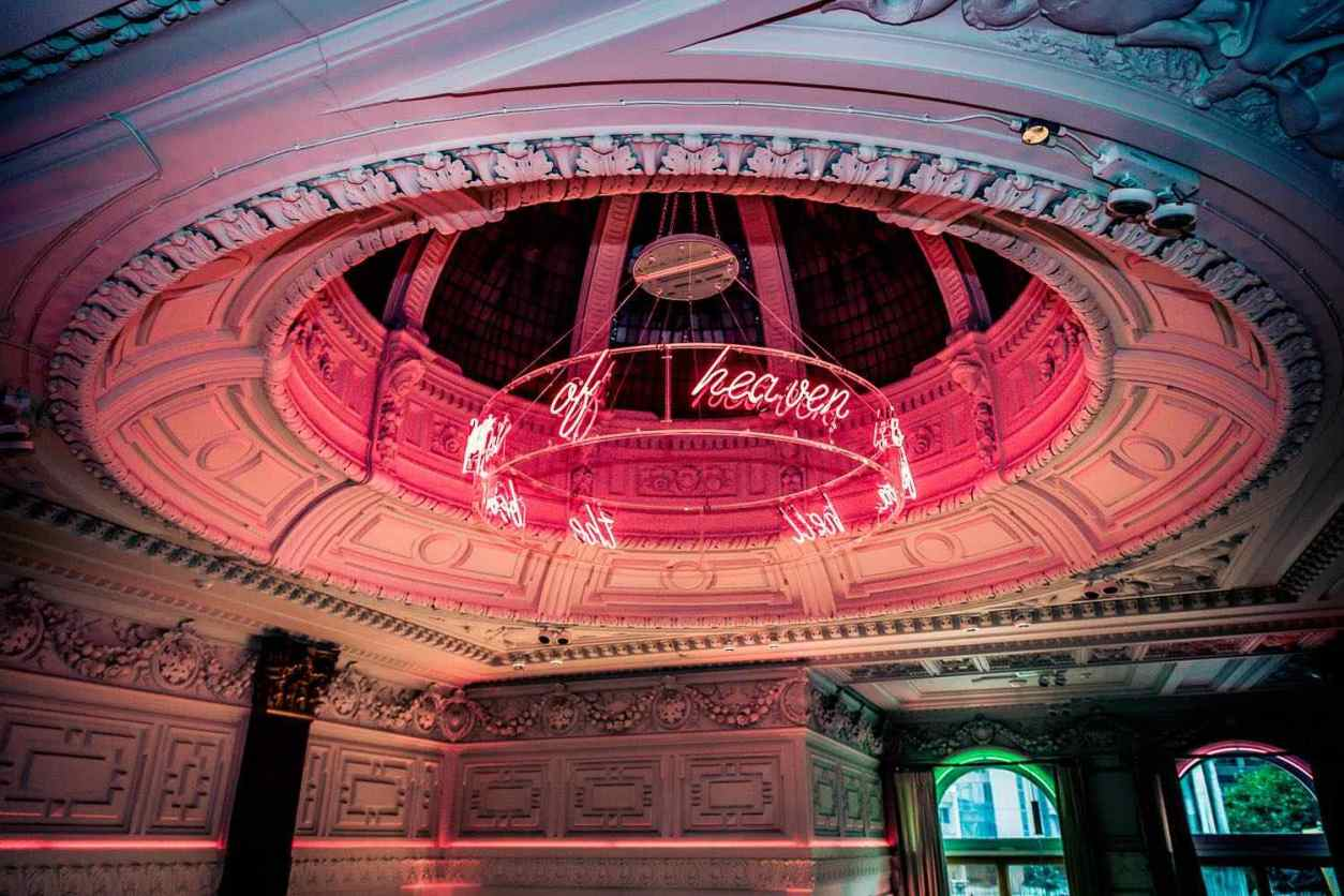 pink-dome-with-neon-words-at-neighbourhood-bar
