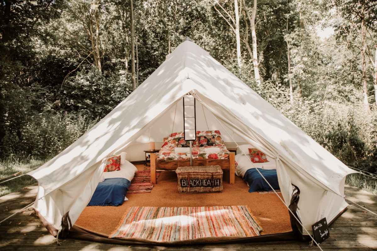 three-beds-in-browning-bros-bell-tent-in-forest-glamping-essex