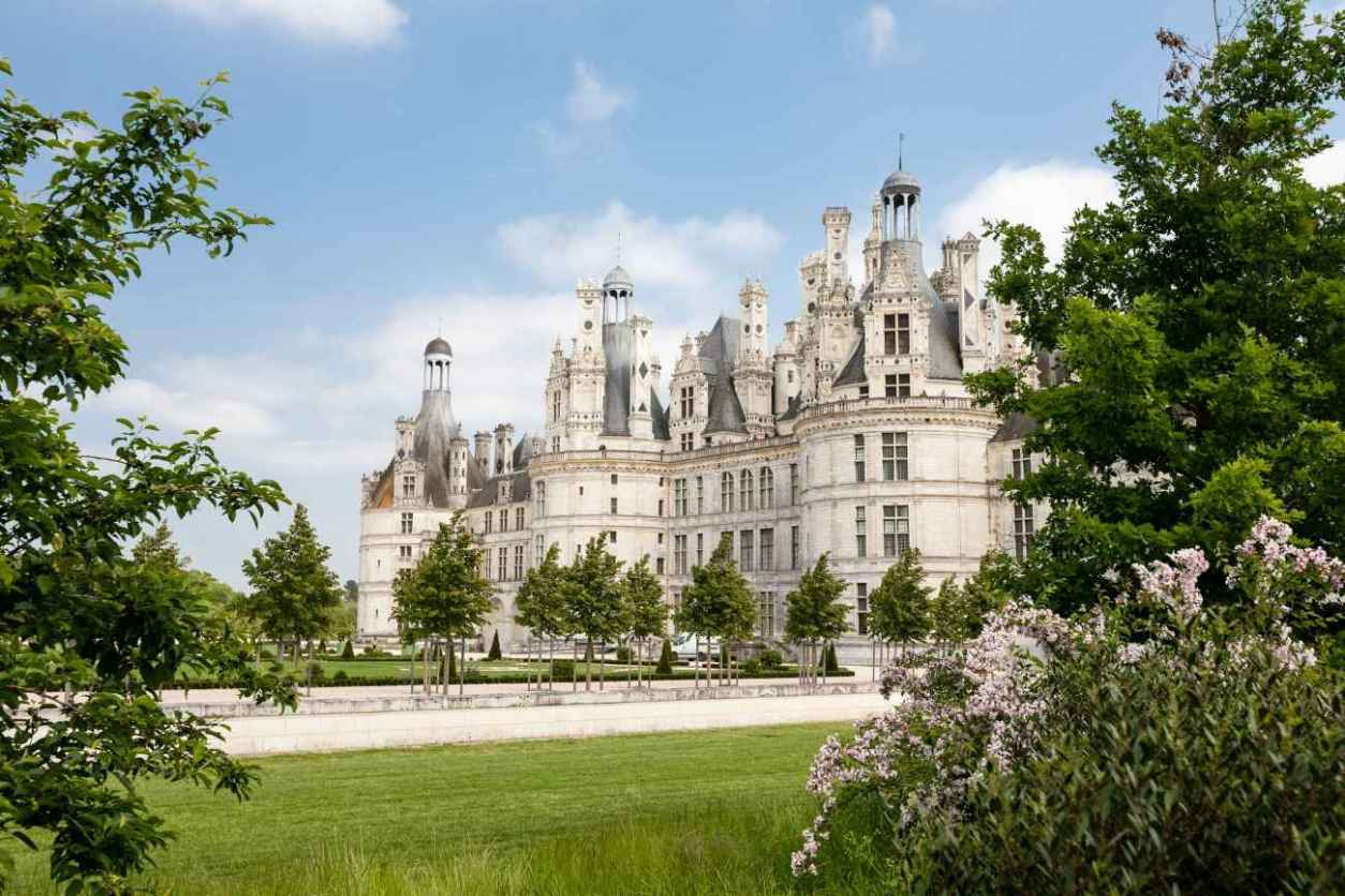 view-of-château-de-chambord-through-bushes-chateaux-of-the-loire-valley