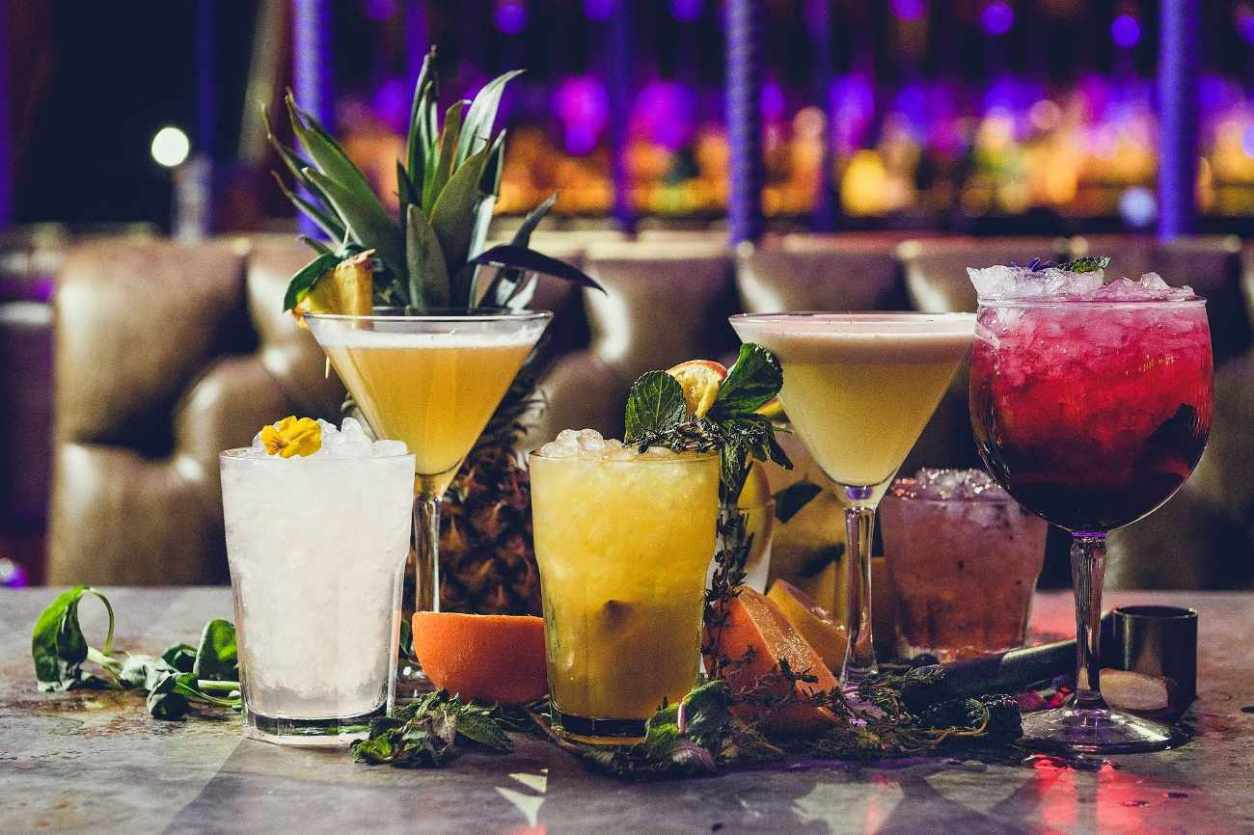 cocktails-on-table-of-bar-and-beyond-at-night-bottomless-brunch-norwich