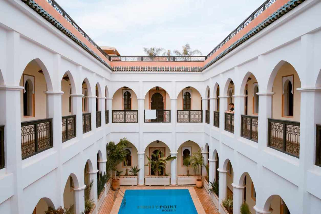 courtyard-of-equity-point-hostel-with-pool-marrakech-itinerary