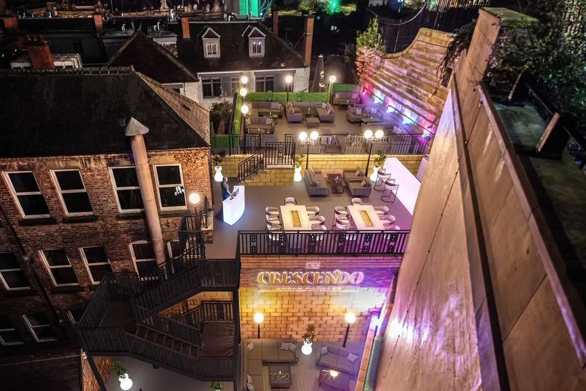 aerial-view-of-crescendo-bar-at-night-rooftop-bars-newcastle