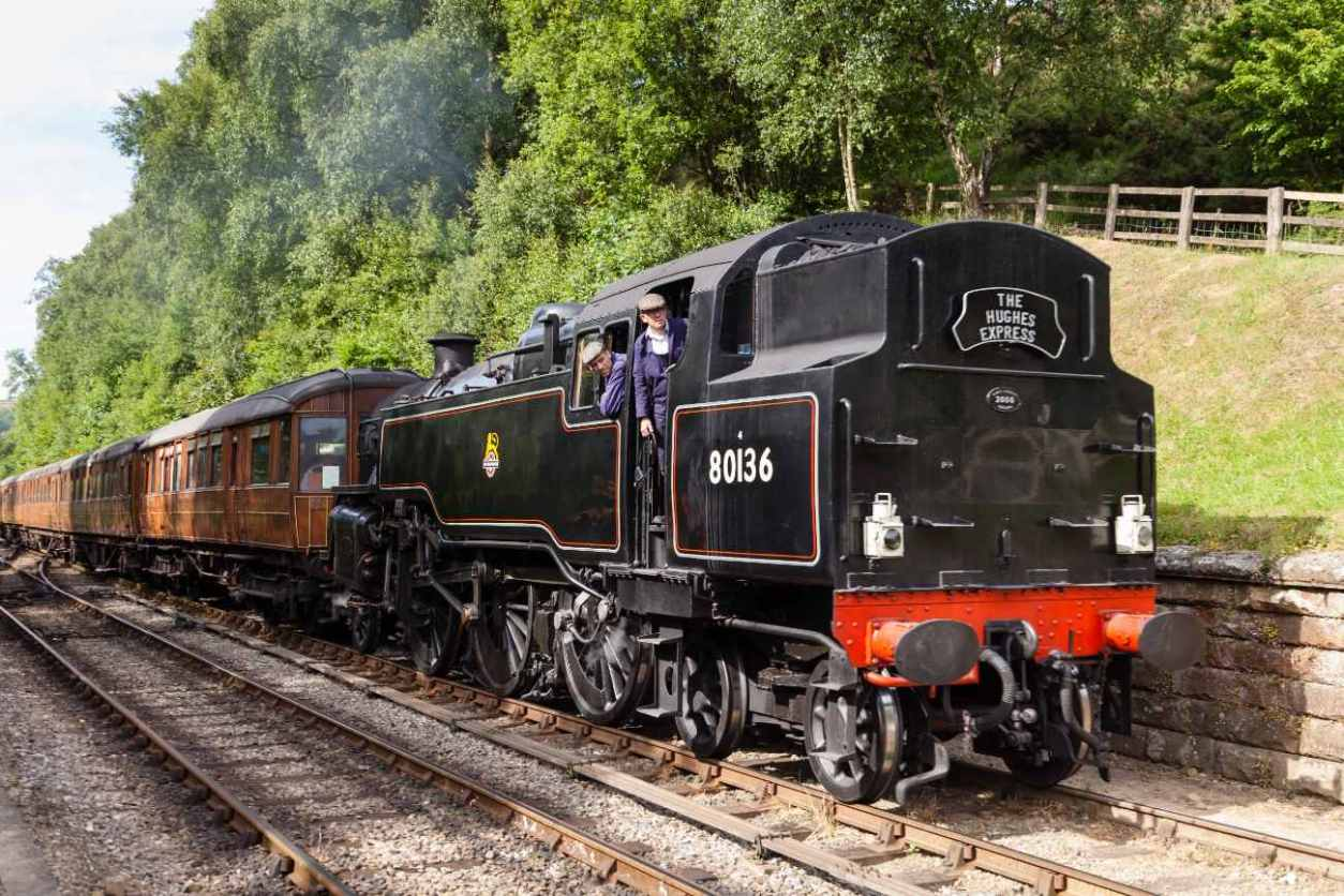 train-going-down-railway-in-north-yorkshire-moors-railway