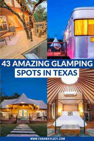 Glamping Texas: 43 Amazing Places You Need to Stay At [2021]. From treehouses and safari tents to bubble domes and airstreams, here are 43 amazing glamping spots in Texas that you will love! Click through to read more...