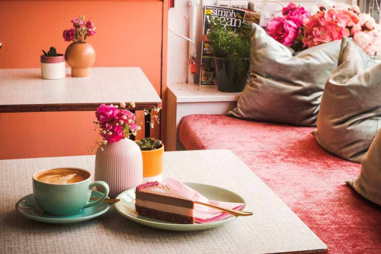coffee-and-cake-on-table-at-rawnchy-cafe-best-brunch-glasgow
