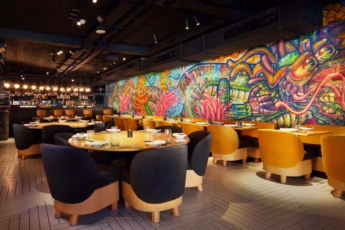 restaurant-tables-inside-chotto-matte-bottomless-brunch-soho