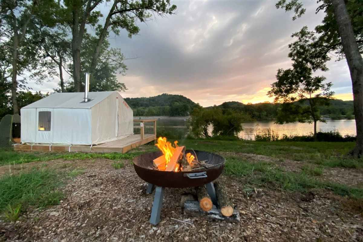 tentrr-canvas-tent-with-campfire-by-lake