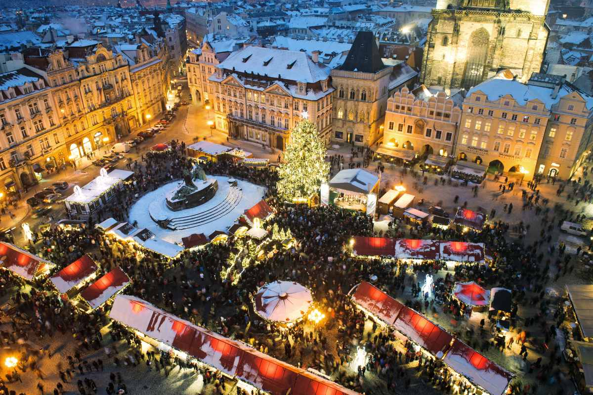 aerial-view-of-christmas-market-at-night