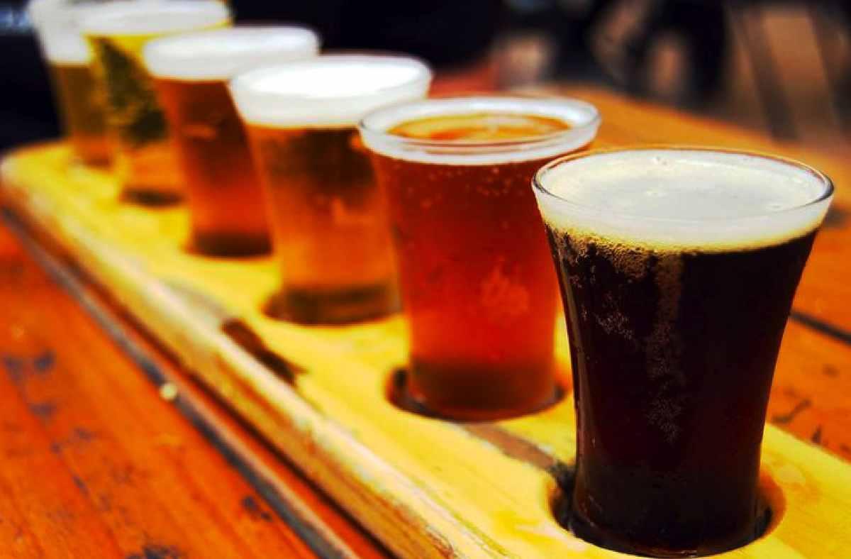 beers-on-bar-of-prague-beer-museum