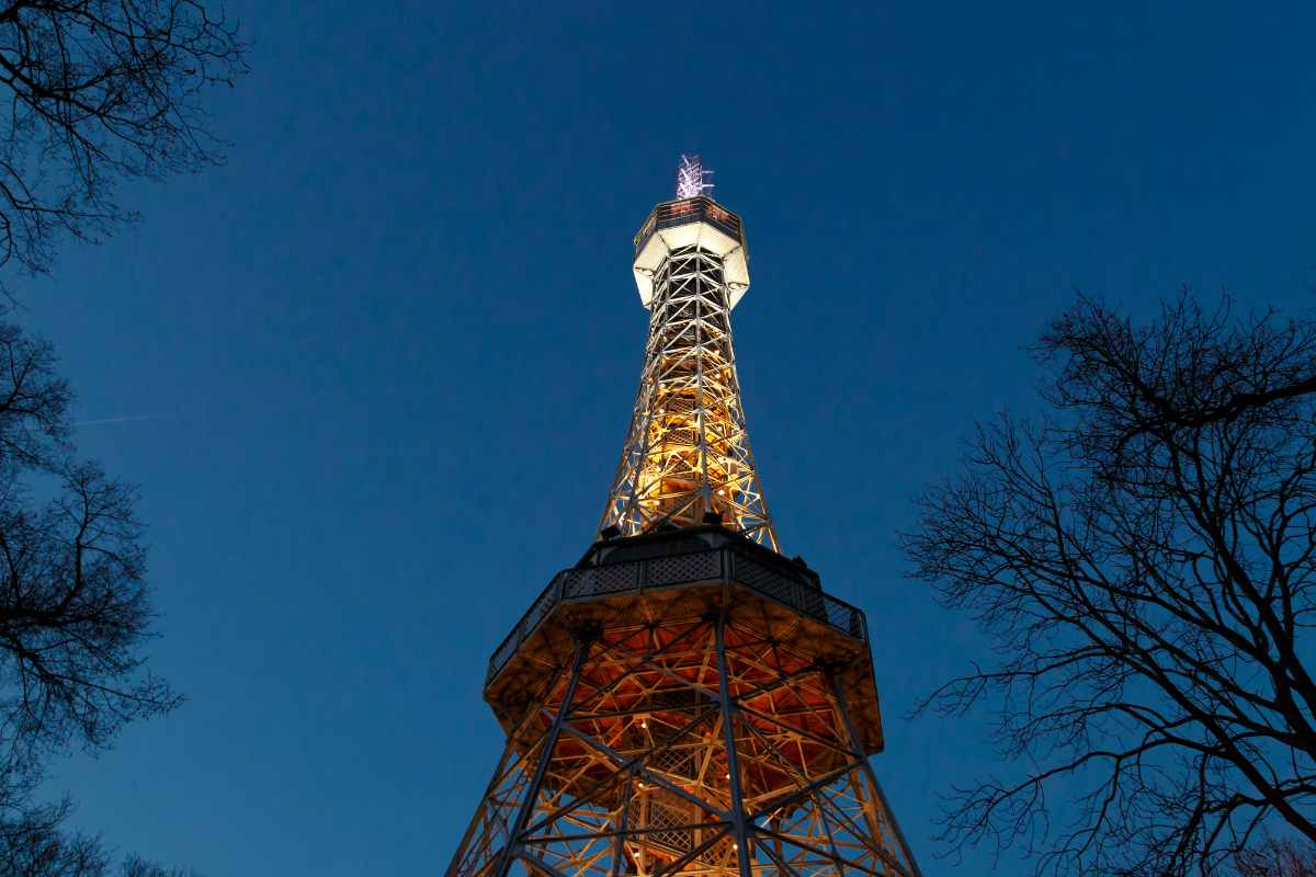 bottom-view-of-iron-petrin-tower-things-to-do-in-prague-at-night