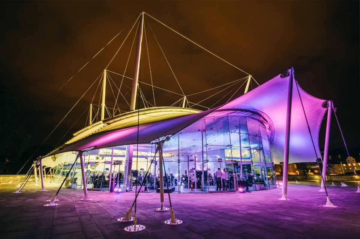 dynamic-earth-museum-lit-up-at-night-indoor-activities-edinburgh