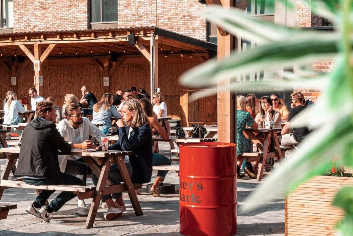 people-drinking-on-the-roof-at-pins-social-club-bottomless-brunch-liverpool