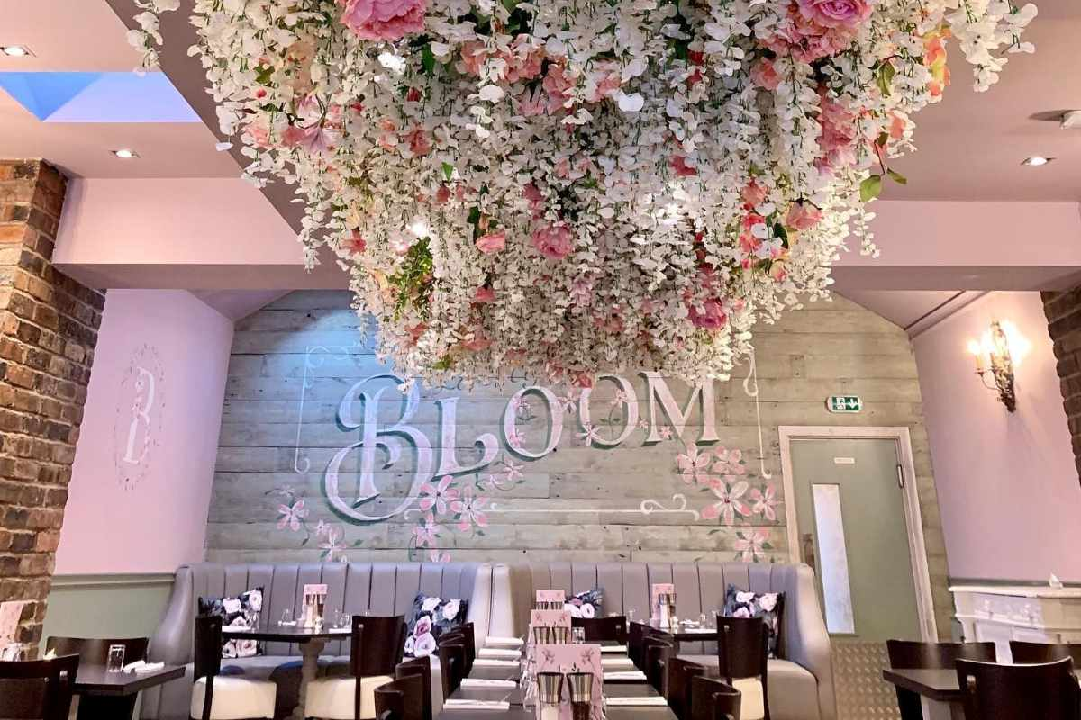 pink-flowers-on-ceiling-in-bloom-bar-and-bistro-bottomless-brunch-liverpool