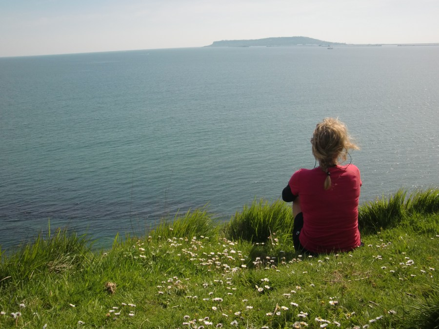 Looking out to Portland Bill when bikepacking Dorset
