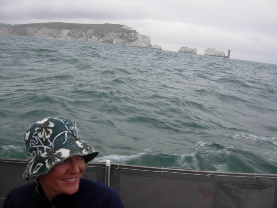 passing the needles in background after 11 days from azores to england