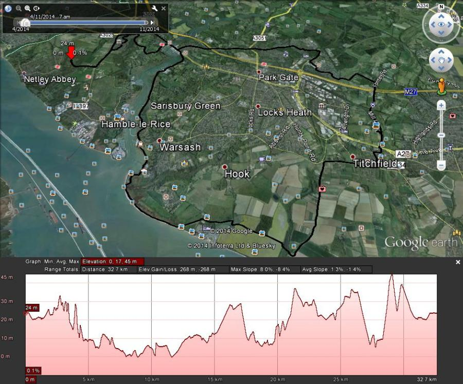 21 mile route netley to titchfield along the solent