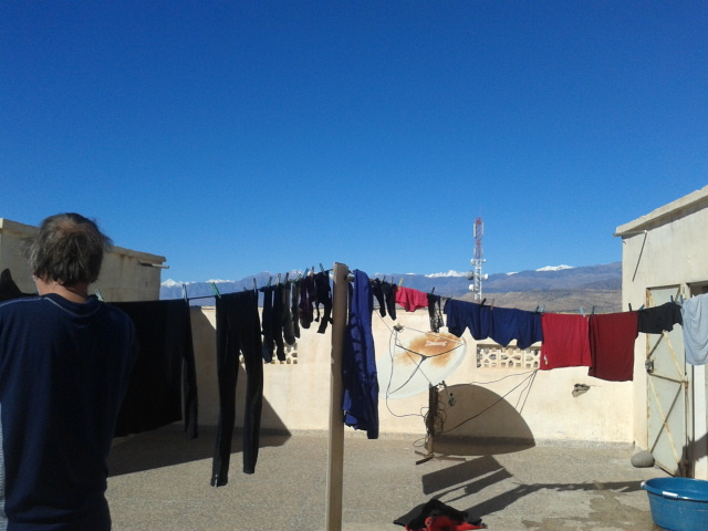 laundry on the rooftop at hotel sahara
