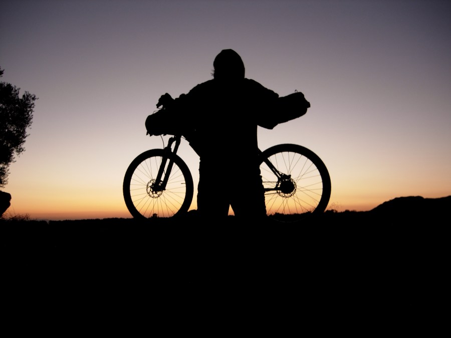 bicycle in sunset near ouled berhil