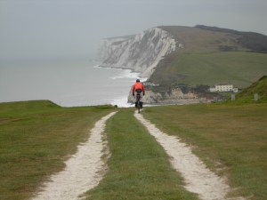 Riding towards Highdown Cliffs