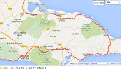 East Cuba Cycling Route map
