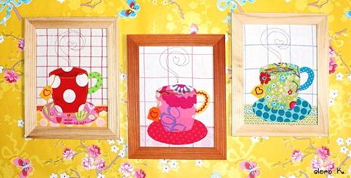 Teezeit, teatime genähte Bilder