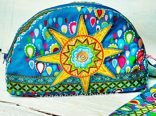 Kosmetiktasche ROT von der Taschenspieler-CD von farbenmix selber nähen mit der Sonnenstickdatei