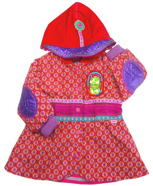 Mantel rot-pink-lila nähen, normale Nähmaschine, mit Webbändern und Stickereien