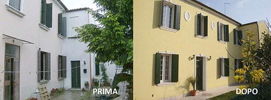 Facciata di una casa prima e dopo la ristrutturazione