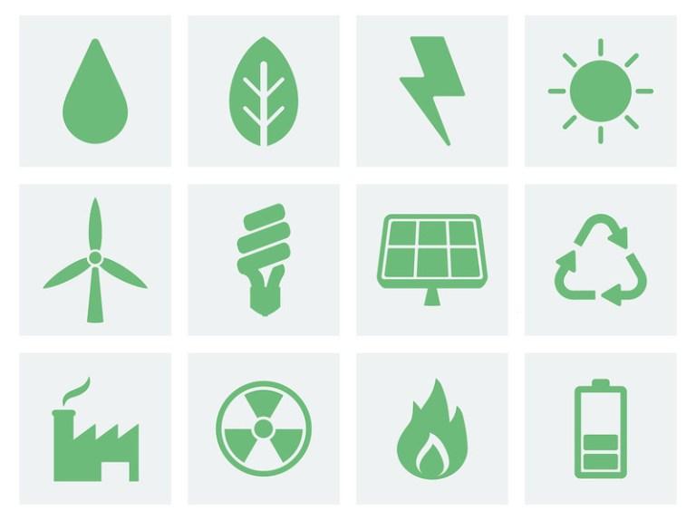 icone che rappresentano i diversi sistemi per la produzione di energia
