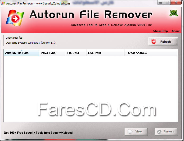 أداة كشف وإزالة فيروسات اوتورن   Autorun File Remover 3 0