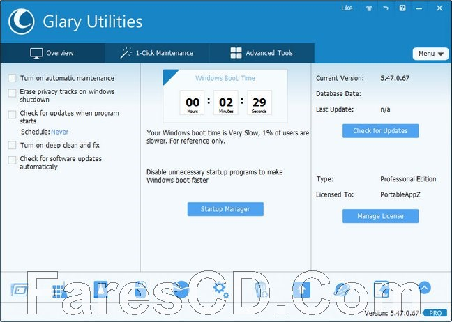 برنامج صيانة وتسريع الويندوز   Glary Utilities Pro