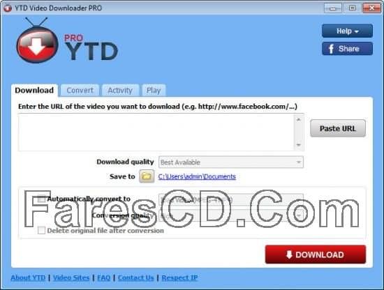 برنامج التحميل من اليوتيوب   YTD Video Downloader Pro 5.9.4.1