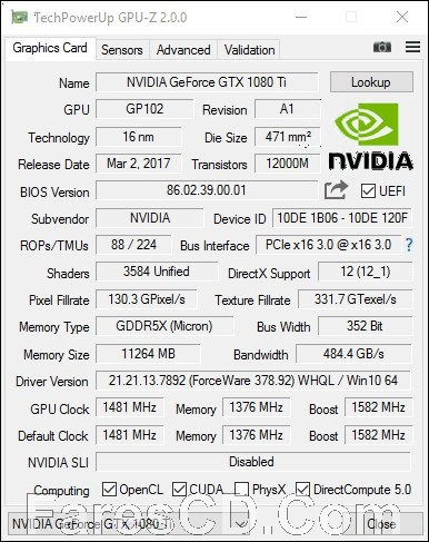 برنامج عرض معلومات تفصيلية عن كارت الفيجا | GPU-Z 2.10.0