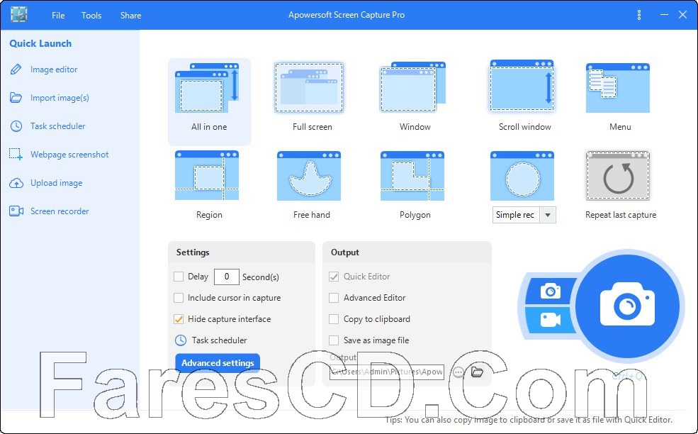 برنامج تصوير الشاشة بالصور والفيديو | Apowersoft Screen Capture Pro 1.4.7.18