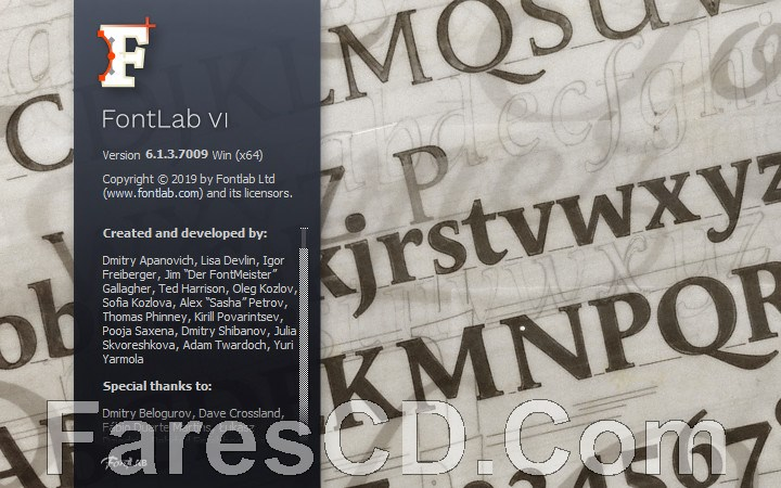 برنامج إنشاء وتحرير الخطوط | FontLab VI 6.1.3.7009