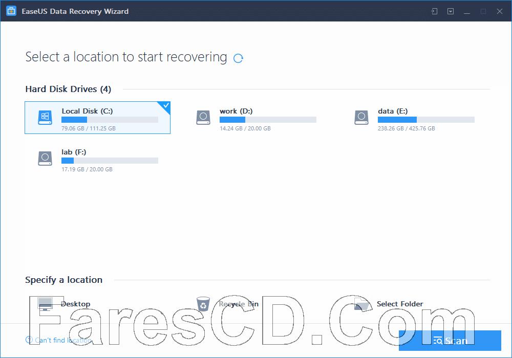 اسطوانة استعادة الملفات المحذوفة | EaseUS Data Recovery Wizard 12.9 WinPE