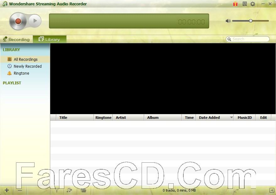 برنامج تسجيل الصوت   Wondershare Streaming Audio Recorder
