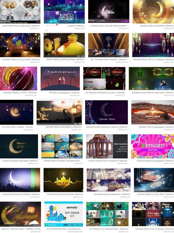 تجميعة تامبيلات للموشن جرافيك خاصة بشهر رمضان
