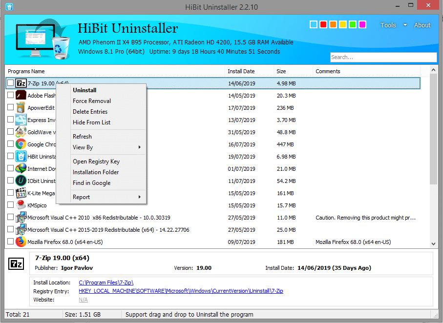 برنامج | Hibit Uninstaller 2.2.10 | لحذف البرامج من جذورها