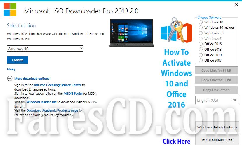 برنامج ميكروسوفت لتحميل الويندوز والاوفيس   Microsoft ISO Downloader Pro 2019 2.0