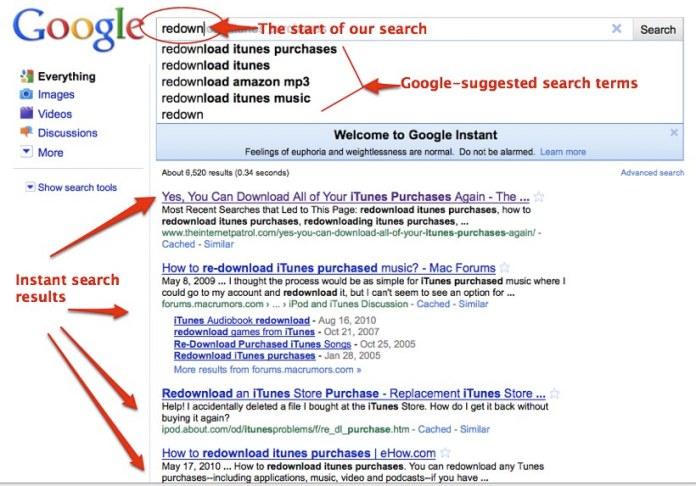 google instant addio