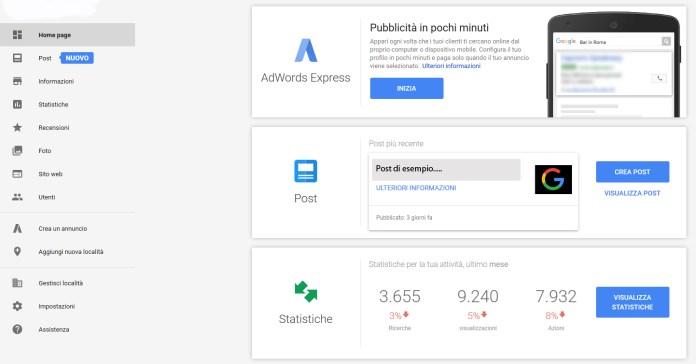 google my business pannello iniziale