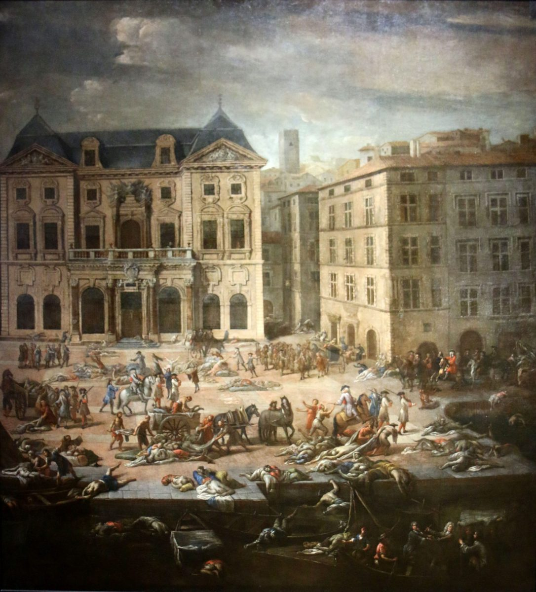 Michel Serre: View of Marseille's town hall during the Plague of 1720, painted 1721
