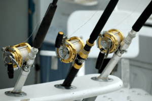 three fishing rods