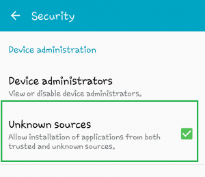 Setting> Security> Unknown source
