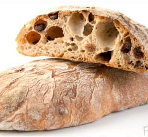 Chocolate Ciabatta with Dried Cherries and Roasted Hazelnuts