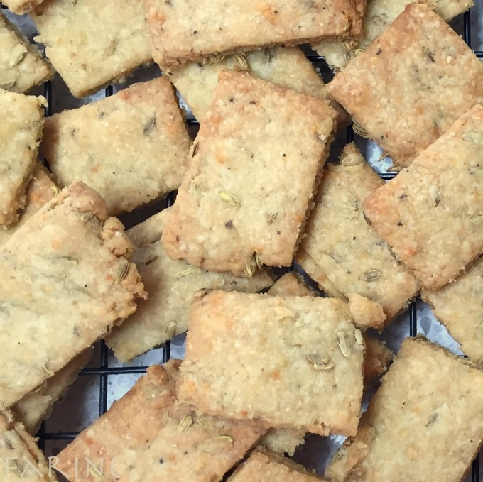 Italian crackers with parmesan, fennel seeds and olive oil