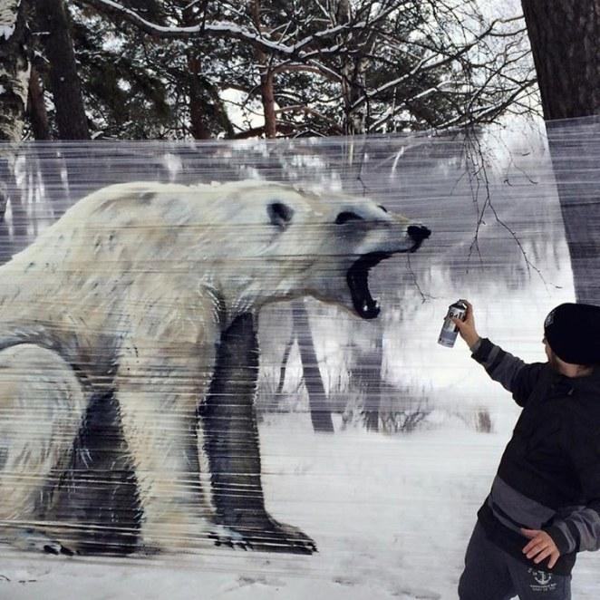 kutup ayısı Streç Film ile Grafiti